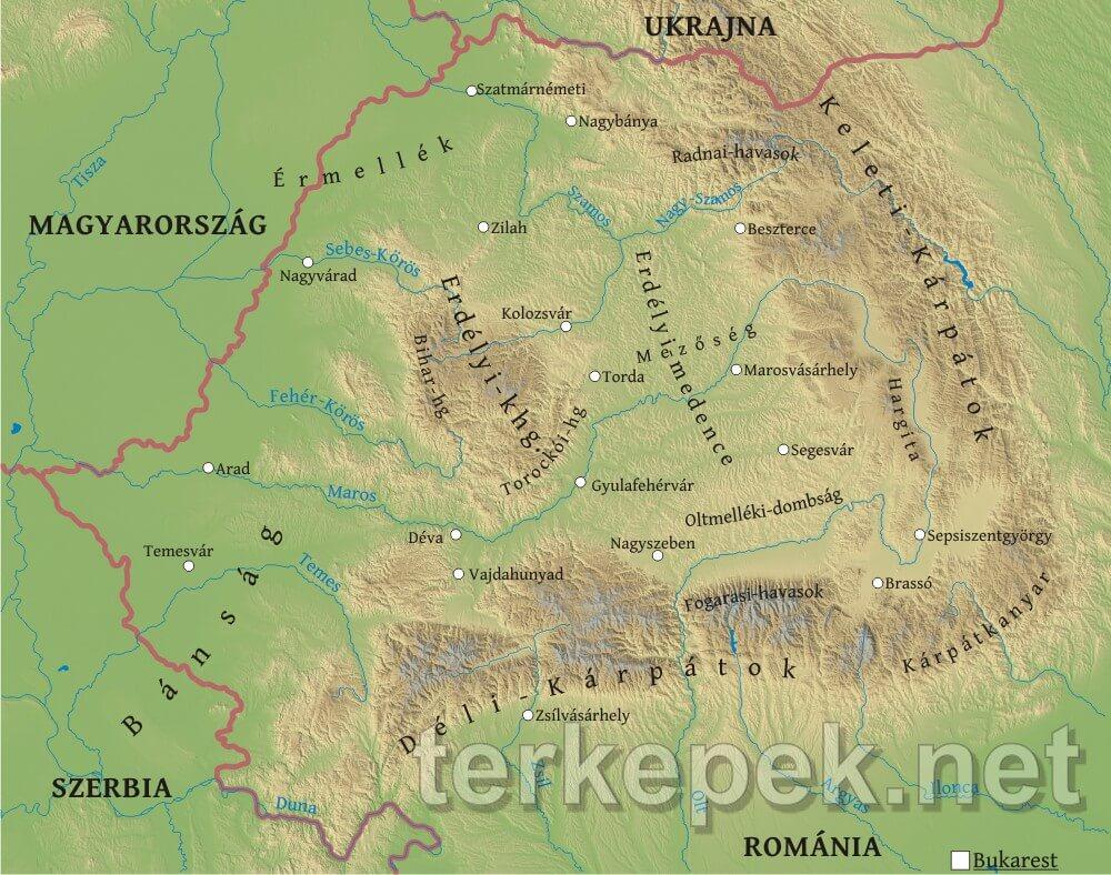Erdely Domborzati Terkepe